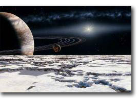 Epsilon Eridani and its planet, artist drawing
